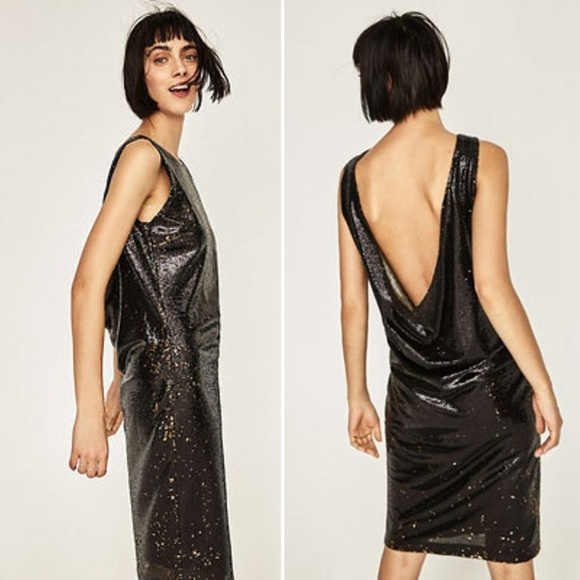 561f503cffd ZARA Basic Evening Black Gold Sequin Tube Dress. NWT